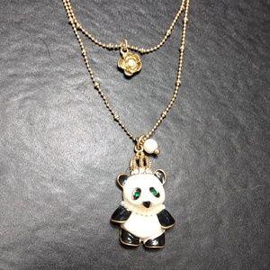 Betsey Johnson panda pendant necklace